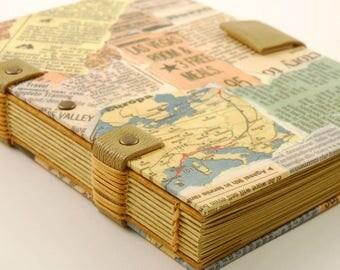 Travel journal, globe trotter, size a6 kraft paper 120g, Coptic binding book, journal, notebook