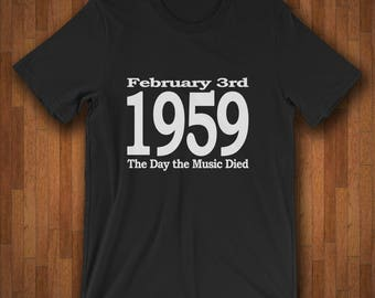 Music History Shirt - February 3 1959 - The Day The Music Died - Buddy Holly Ritchie Valens Big Bopper
