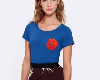 TEE-SHIRT femme Bleu Roi en Coton 100% bio Equitable  Coton doux - Impression Coquelicot niveau coeur