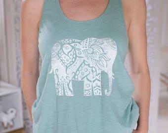 Mint Green Elephant Yoga Tank