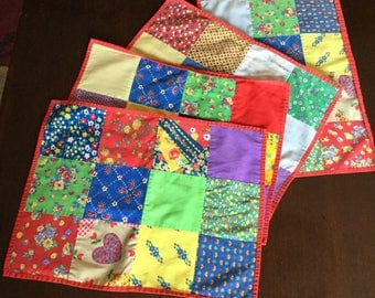 Set of 4 Vintage Placemats - Handmade Placemats - Patchwork Placemats - Colorful Placemats