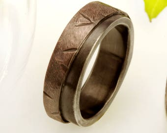 Copper Men's Wedding Band, Wide Copper Ring, Silver and Copper Ring, Rustic Man's Band, 8 mm Copper Engagement ring, Textured Ring, RS-1219