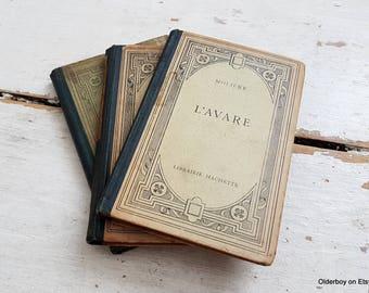 1900s Vtg French books by MOLIERE Les Femmes Savantes / L'avare / Le Misanthrope Moliere comedies book vintage Moliere Hachette Paris sz/917