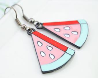Boucles d'oreille pastèque - boucles oreille fruits - boucles d'oreille rouge - funky - bijoux fantaisies - BO rockabilly - néon - tropical