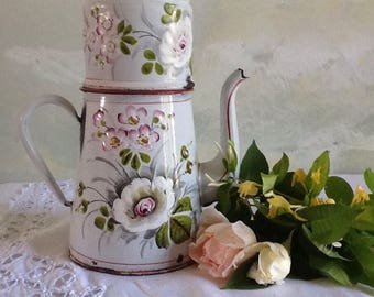 Stunning rare vintage french enamel coffee pot. Collectable enamelware. French antique enamel coffee pot with filter. White, pink flowers.
