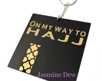 On my way to Hajj Personalized Keychain Perfect for Carry-on, Luggage, Hajj Gift