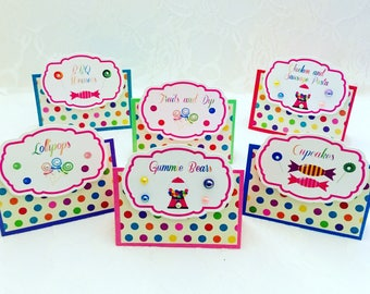 Candyland Decoration- Set of 6 Candyland Food Names Cards- Candyland Party Food Names- Candyland Food Table Cards-Dessert Tent Cards