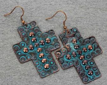 Handmade Cross Earrings - Patina