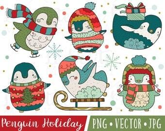 Christmas Penguin Clipart, Kawaii Penguin Clipart Set, Cute Penguin Illustrations, Hand Drawn Clipart for Christmas, Winter Penguins Clipart