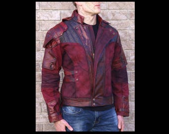 Red Leather and Printed Fabric Jacket (Custom Sizing!) 2ND RUN