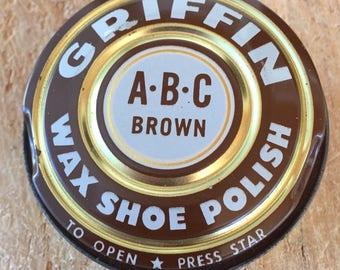Vintage Griffin Wax Shoe Polish Tin, ABC Brown, Advertising Tin, Shoe Shine Tin