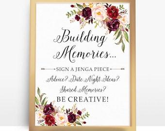 Jenga Guest Book Sign, Wedding Jenga, Jenga Sign, Jenga Guest Book, Jenga Wedding, guest book alternative, Building memories Sign  - BPF-23