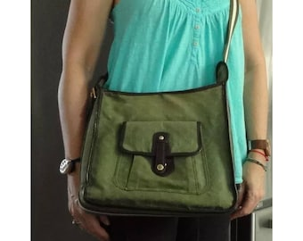 Auth 2Pc set vintage LOUIS VUITTON canvas army green shoulder bag + wallet handbag 1997 rare shabby well used