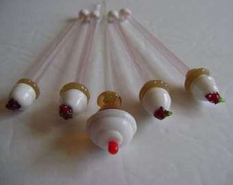 Ice Cream Sundae swizzle sticks / glass stirrers/ coffee stirrer/ vintage/ 4th of July / Mother's Day/ Housewarming/ collectible / bar ware