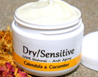 Dry/Sensitive skin - Calendula + Cucomber seed oil Face moisturizer - helps eczema, psoriasis, acne prone skin