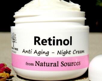 Retinol - Night cream - anti aging cream  - Retinol cream from All Natural Sources (2oz)