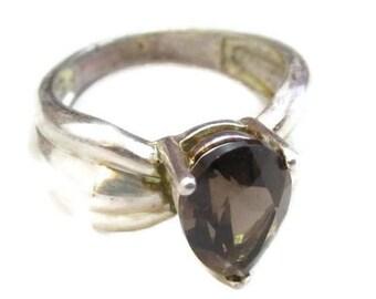 Designer Signed Utc 925 Cognac Smoky Quartz Sterling Silver Ring*Sz 11*8.2G*D749
