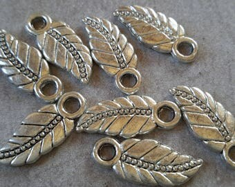 10 pcs tree, leaf pendants, silver - 17 x 7 mm leaf charms