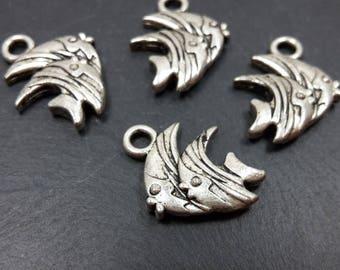 10 pcs pendants charms double fish aquarium sea silver-plated - 15.5 x 12 mm