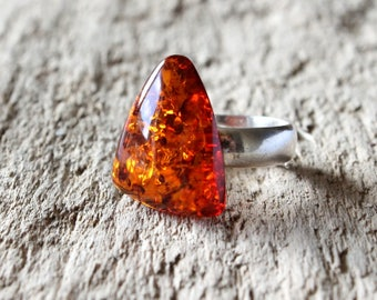 Baltic amber ring, amber jewelry, natural Baltic amber, amber silver ring, cognac amber ring, gemstone ring, amber and silver, ring jewelry