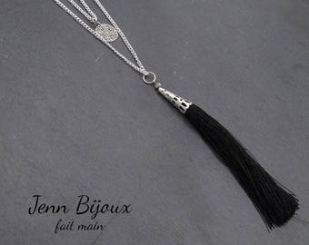 Double silver necklace with black tassel - print, string