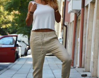 Casual Linen Beige  Pants, Wide Leg Pants with pocket, Extravagant Harem Pants, Maxi Trousers by SSDfashion