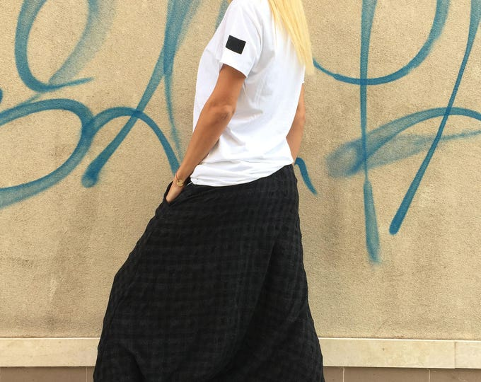 Black Wool Cotton Harem Pants, Deep Drop Crotch Pants, Extravagant Loose Casual Trousers By SSDfashion