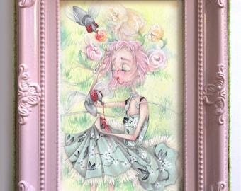 Christian Dior pop surrealism Haruki Murakami japan cherry blossom fantasy art ORIGINAL (framed)
