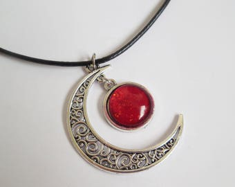 Crescent moon necklace red glass pendant handmade
