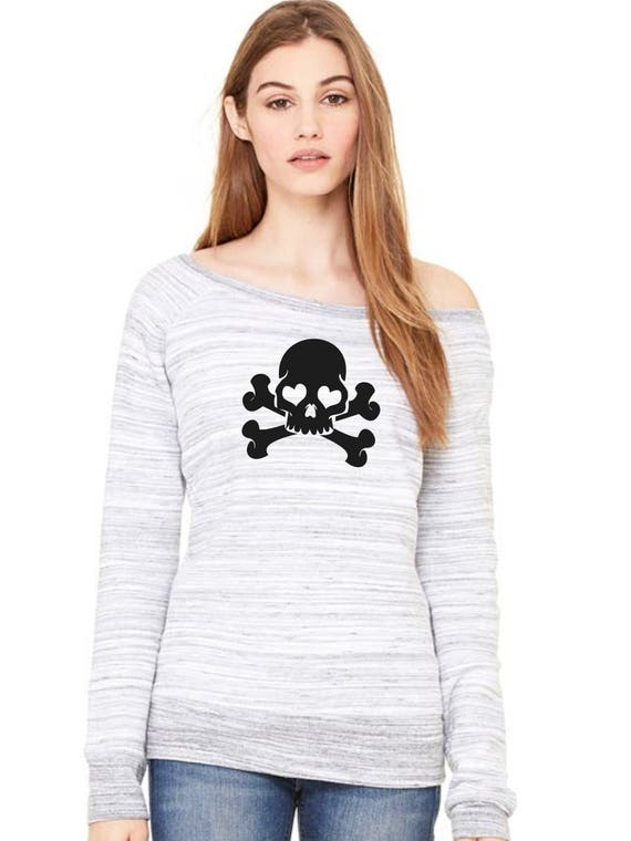 Wide neck women sweater GLITTER SKULLS