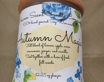 Autumn Magic soy candle in 12.25oz glass jar