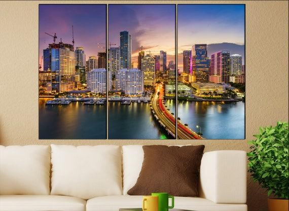 Miami, Florida downtown Skyline  print  on canvas wall art Miami, Florida downtown skyline photo art work framed art artwork