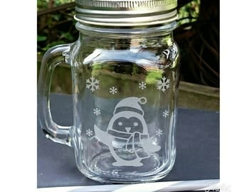 Engraved Penguin Mason Drinking Jar - Personalised - Snowflake - Christmas