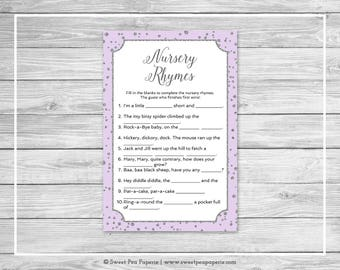 Purple and Silver Baby Shower Nursery Rhyme Game - Printable Baby Shower Nursery Rhyme Game - Purple and Silver Confetti Baby Shower - SP153