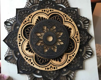 Layered Wood Mandala - Laser Cut - Painted Mandala  - Fine Woodworking - Wall Hanging
