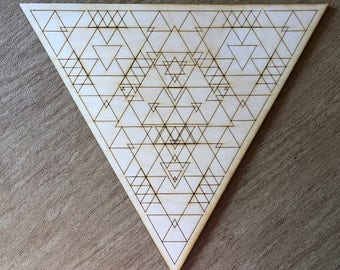 Triangle Crystal Grid - Three - Trinity - 3, 6, 9, or 12 Inches - Wooden Crystal Grid - Sacred Geometry - Wood Crystal Grid