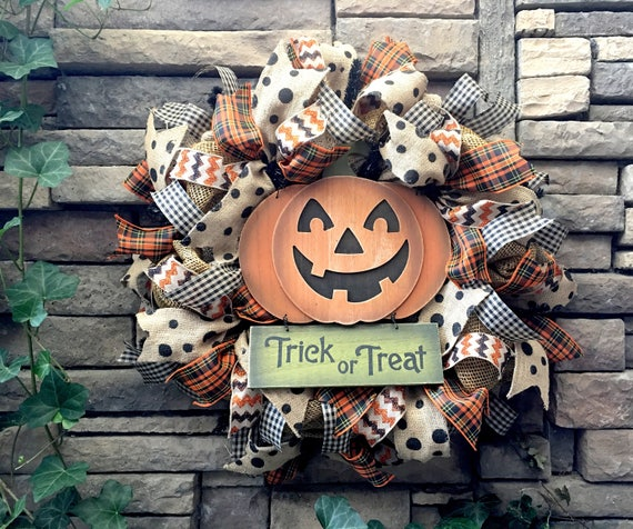 Halloween Wreaths, Halloween Wreath, Pumpkin Wreath, Primitive Halloween Wreath, Farmhouse Wreath, Fall Wreath, Halloween Decor, Halloween