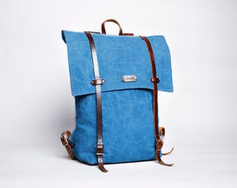 Waxed Canvas & Leather Backpack - Smoked Blue