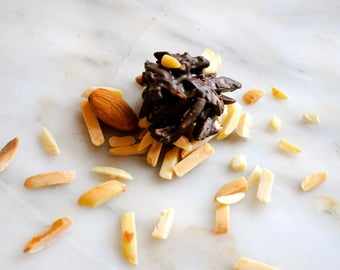 Almonds and Chocolate clusters, artisan handmade candy, healthy snack, Almonds covered with imported chocolate, gift idea