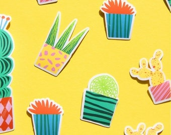 Sticker pack vinyl cactus stickers - Set of 10 stickers, 5 designs - Sticker set cacti succulent stickers succulents - Cactus vinyl stickers