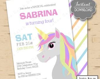 Unicorn Birthday Party Rainbow Invitation Printable 5x7 Invite Diy INSTANT DOWNLOAD You Edit PDF UN01