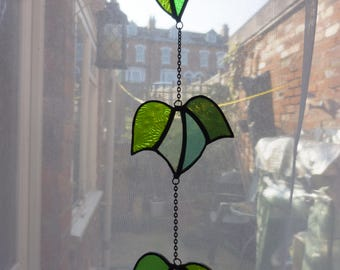 Stained Glass Ivy suncatcher, Vine suncatcher,Cascade Ivy