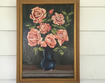 Vintage Paint by Numbers Roses in Vase Painting in Wooden Frame