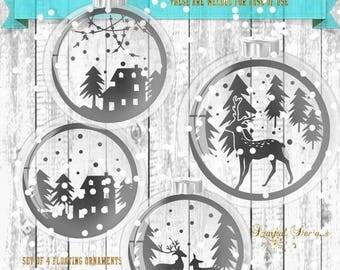 ON SALE Christmas Floating Ornament SVG Winter Scenes for inside of Ornament Vintage Christmas scene Snow Scene Glass Ball