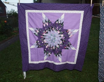 Purple Lone Star  wall hanging or table topper- TOP only!  Ready to quilt