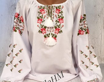 Vyshyvanka Ukrainian Embroidered Blouse , Ethno Blouse, Folk Blouse