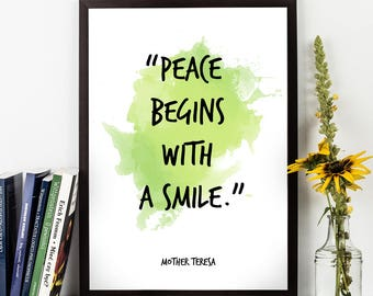Mother Teresa, Mother Teresa Quote, Mother Teresa Art, Peace begins (...), Watercolor Quote Wall art, Motivational quote, Inspirational,