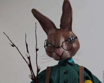 Easter bunny, Rabbit, Easter, Art doll, Inerior Doll, Hand Painted Art Sculpted Doll, Paperclay Art Doll, OOAK Doll