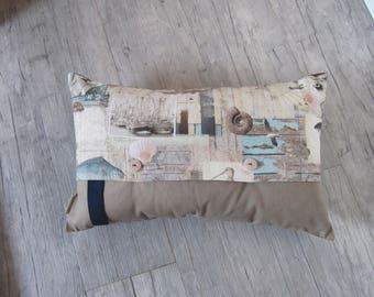 "Sea-Life 30x50cm (12""x20"") Pillow Cover, Handmade, Nautical Throw Pillow, Marine Decoration, retro style,vintage, house warming, old photos"