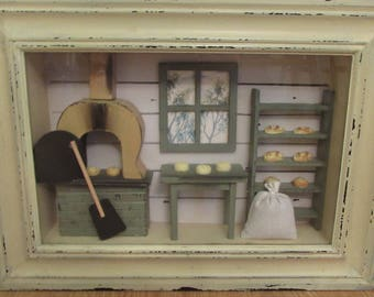 """Distressed Wood Shadow Box """"Outside the Bakery""""  14"""" by 3"""" by 11"""""""